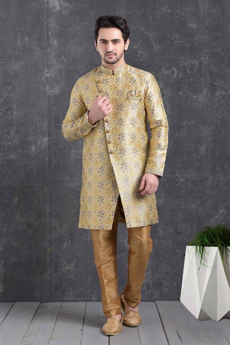 Beige Color Art Silk Fabric Reception Wear Fancy Indo Western For Men