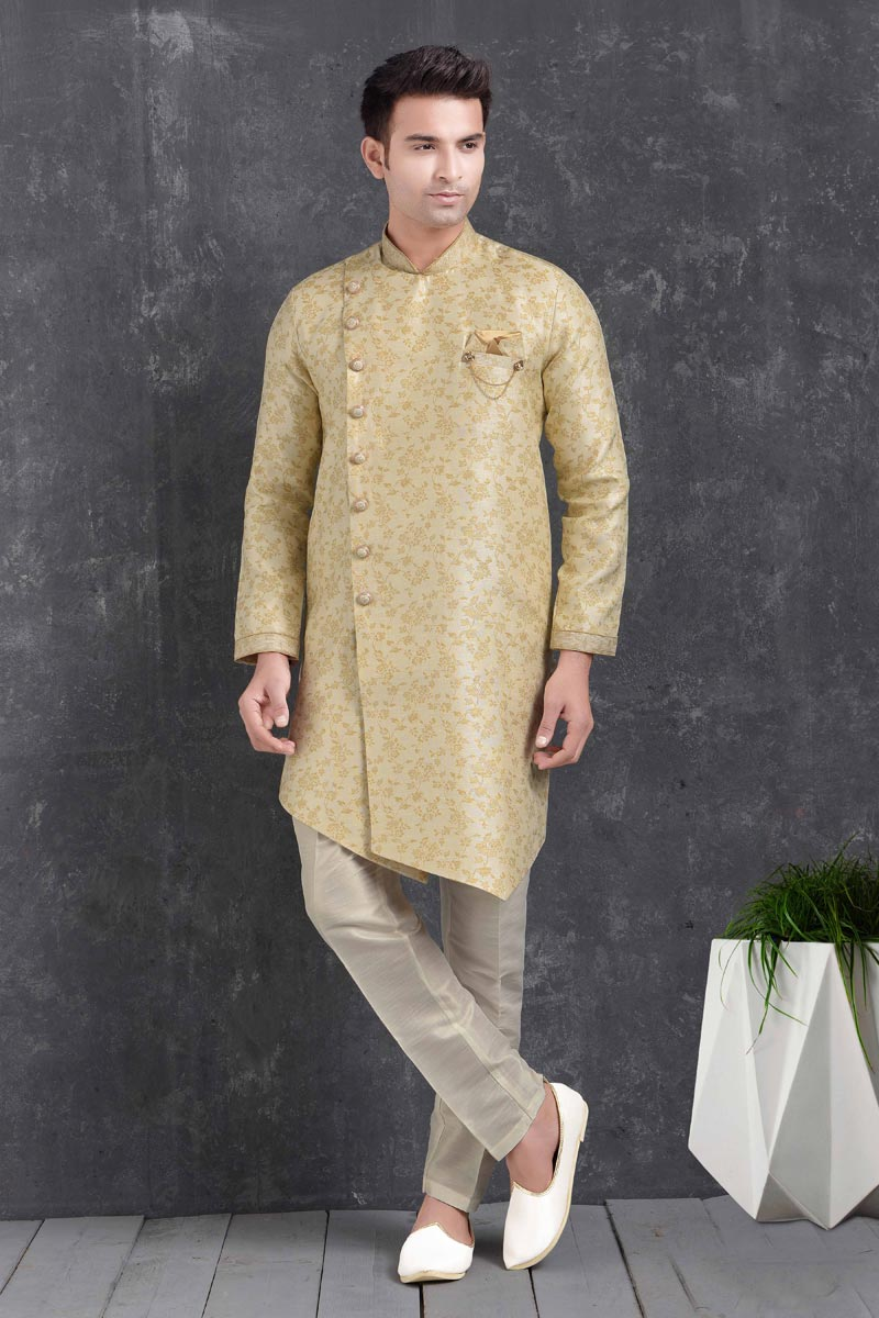 Beige Color Art Silk Fabric Trendy Indo Western For Men