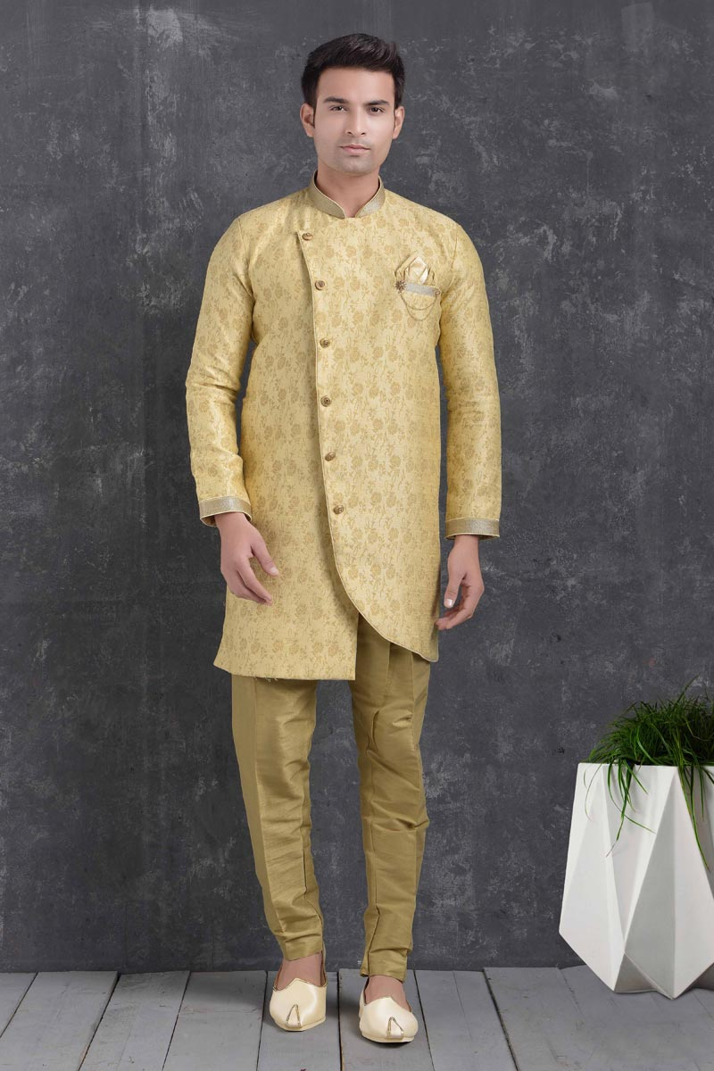 Yellow Color Art Silk Fabric Reception Wear Fancy Indo Western For Men