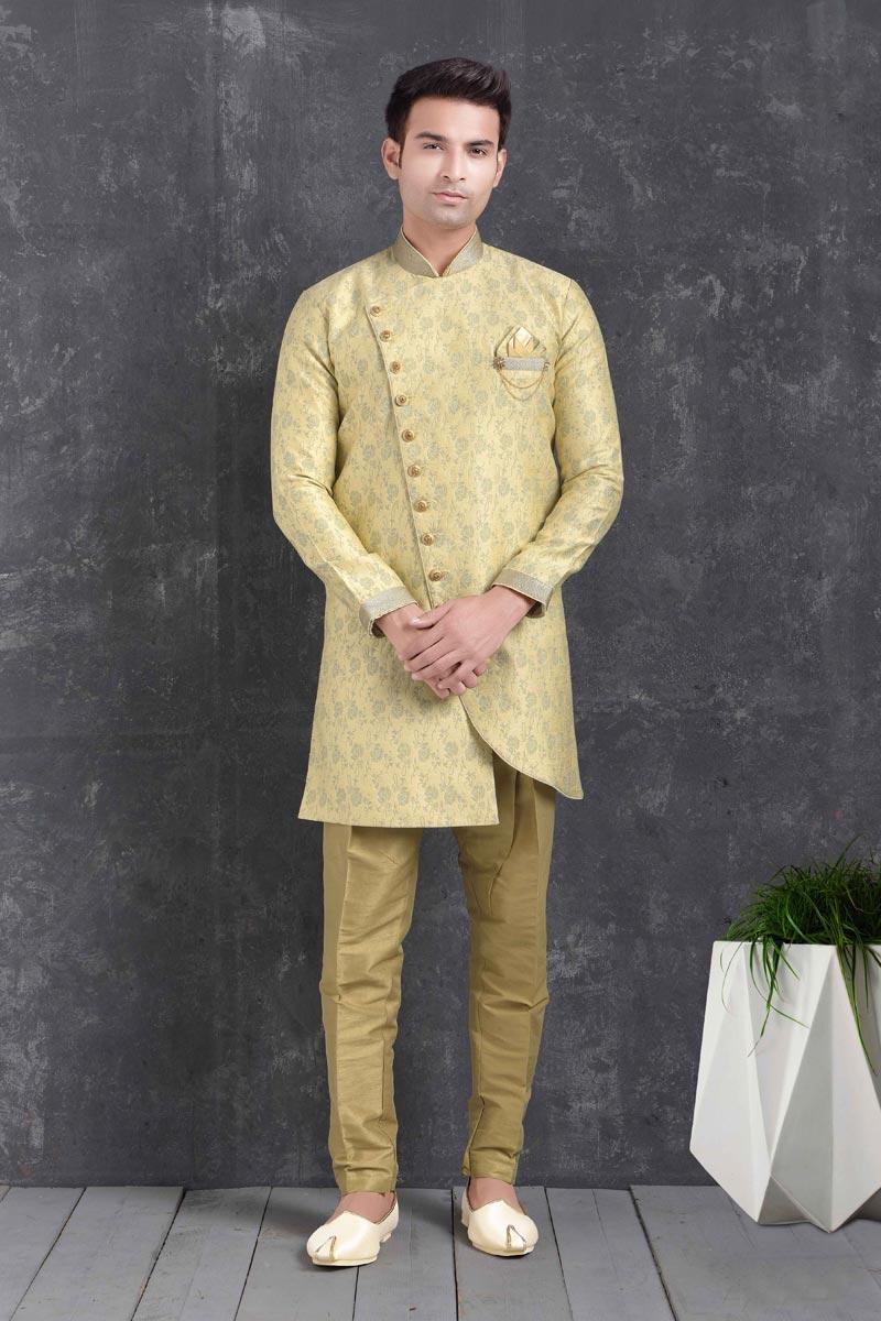 Beige Color Art Silk Fabric Function Wear Fancy Indo Western For Men