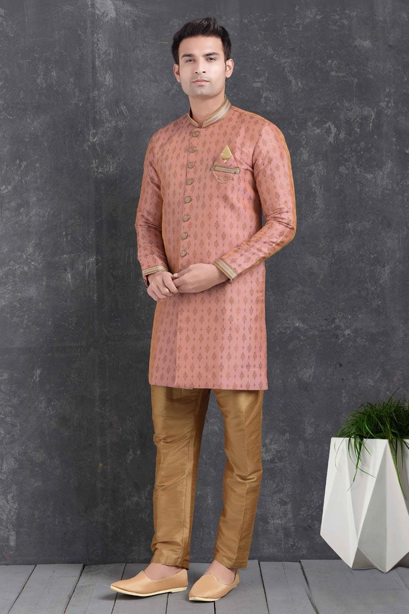 Pink Color Art Silk Fabric Festive Wear Trendy Indo Western For Men