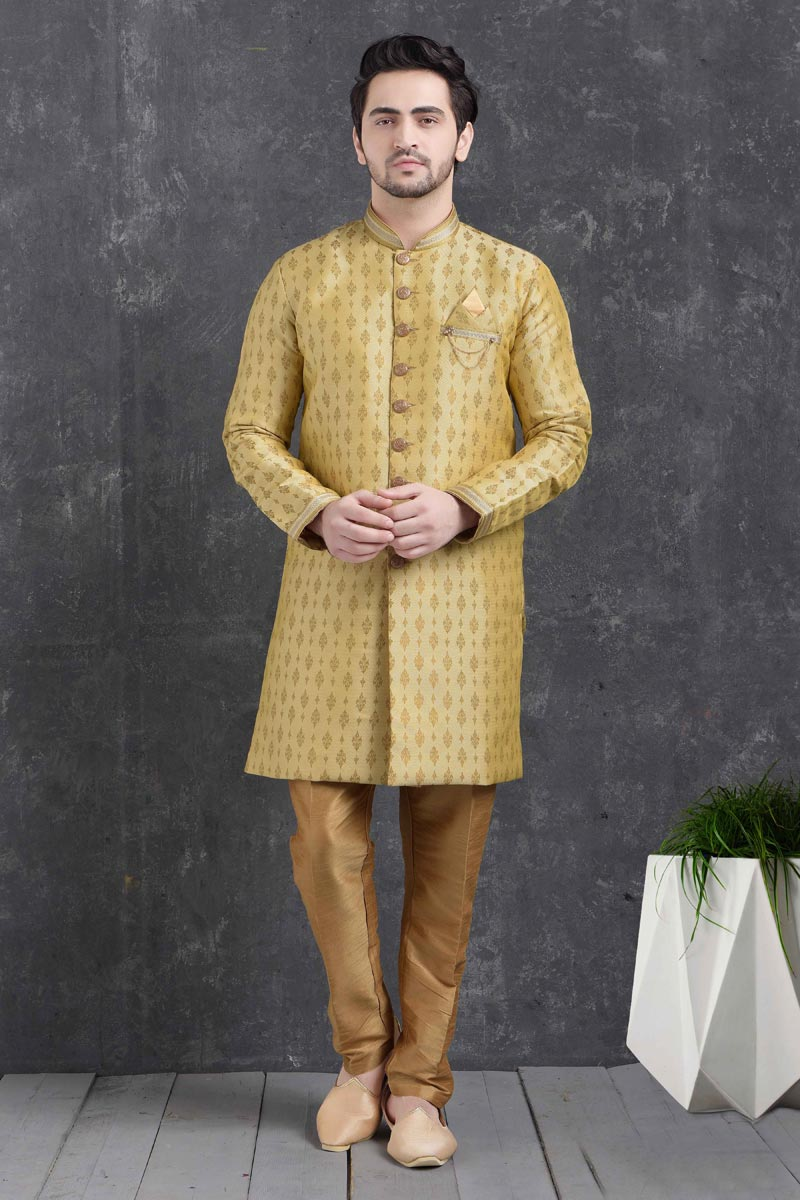 Yellow Color Art Silk Fabric Sangeet Wear Stylish Indo Western For Men