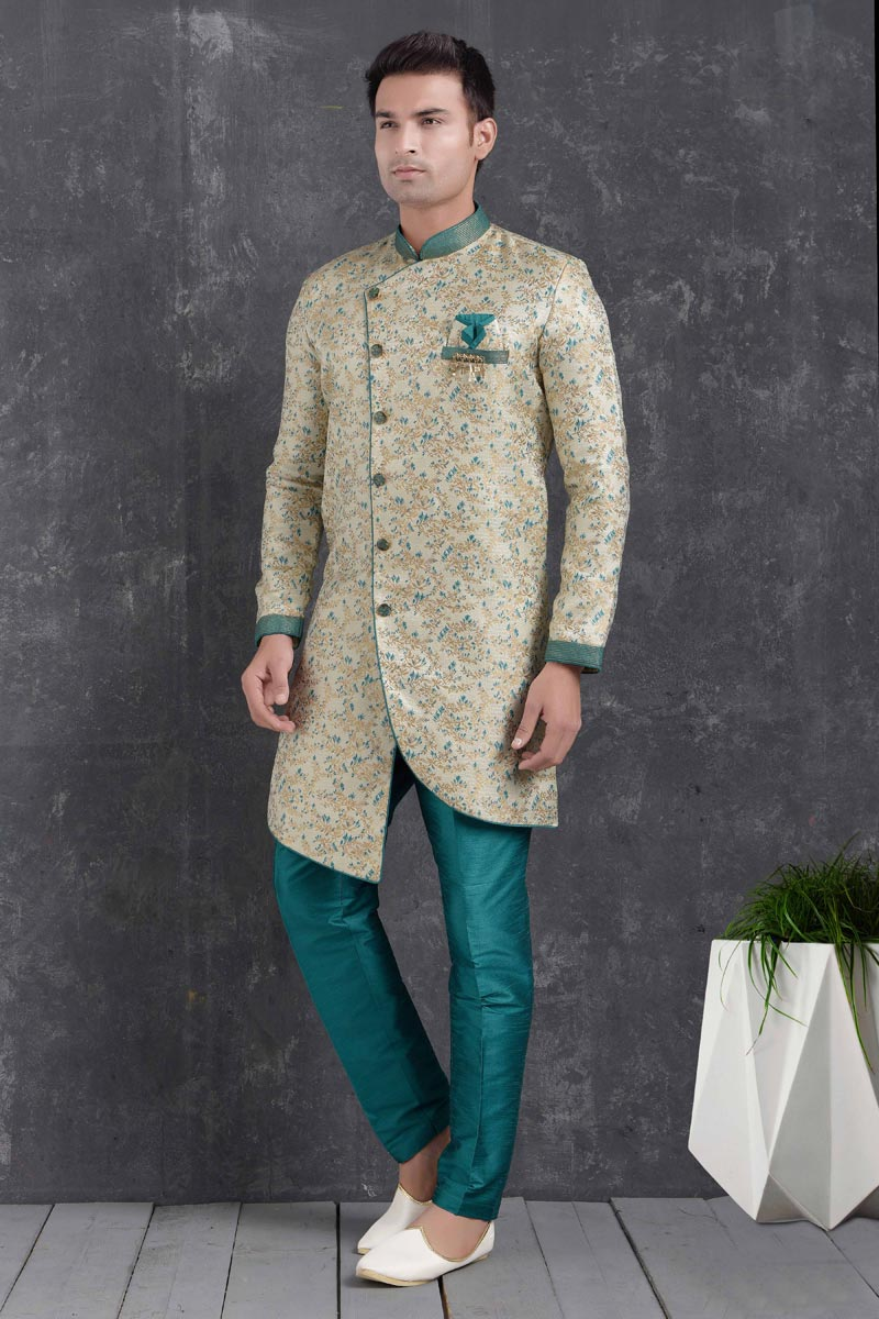 Cream Color Art Silk Fabric Wedding Wear Designer Indo Western For Men