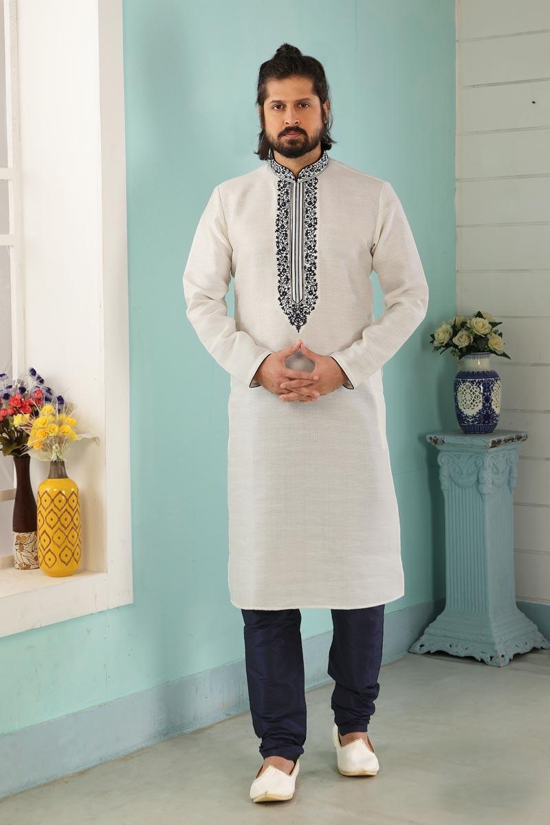 Off White Color Art Silk Fabric Function Wear Fancy Kurta Pyjama For Men