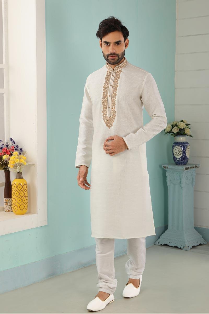 Off White Color Art Silk Fabric Festive Wear Trendy Kurta Pyjama For Men