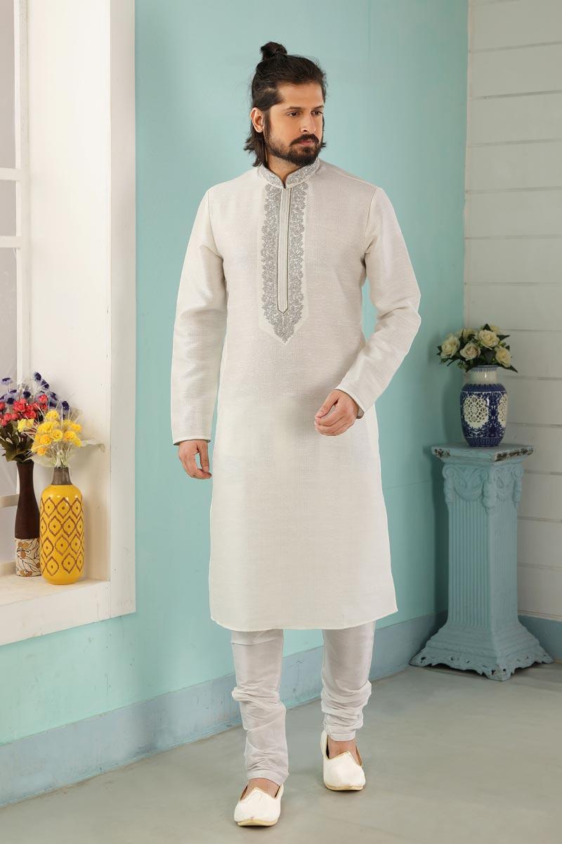 Off White Color Art Silk Fabric Sangeet Wear Stylish Kurta Pyjama For Men
