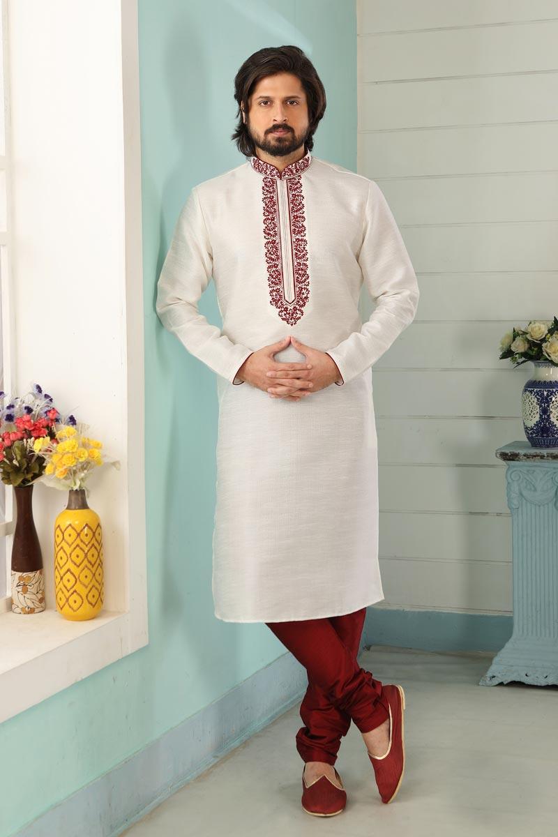 Off White Color Festive Wear Trendy Kurta Pyjama For Men