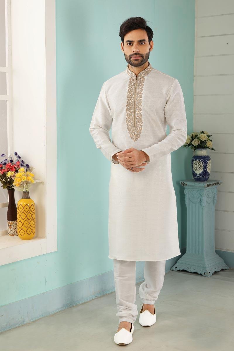 Off White Color Art Silk Fabric Stylish Kurta Pyjama For Men