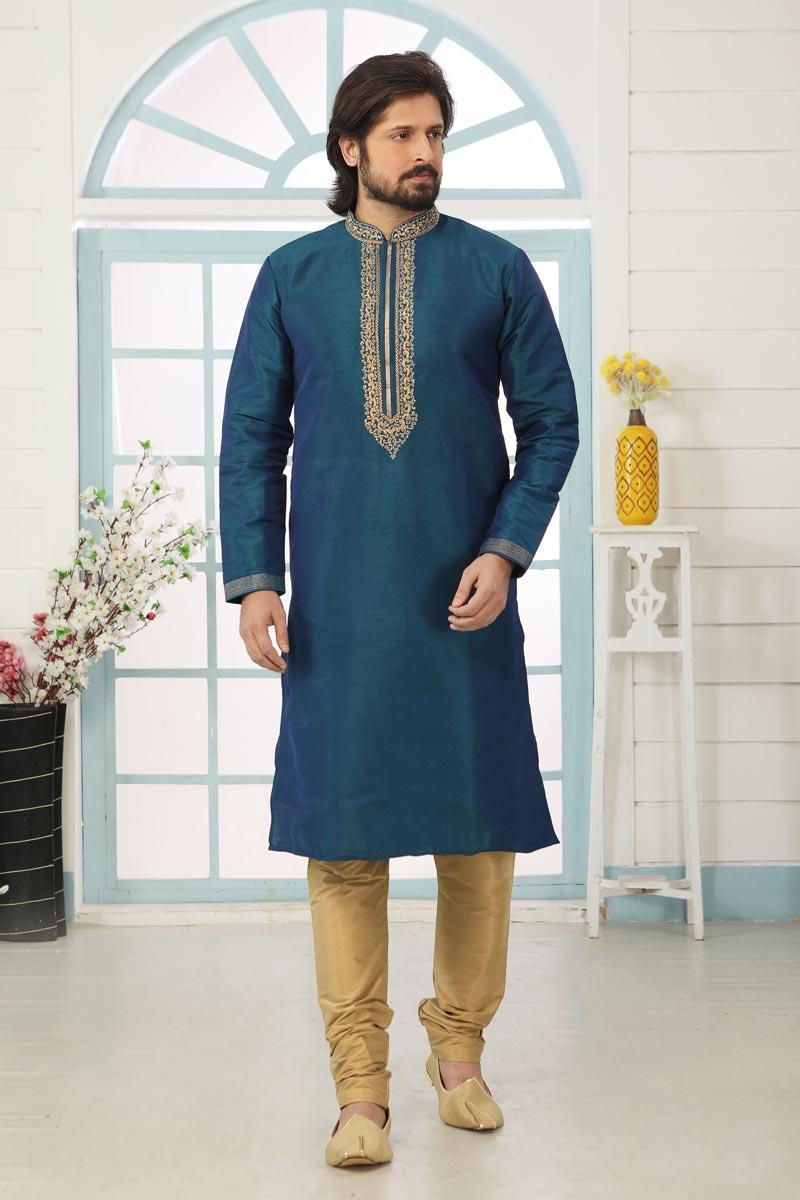 Teal Color Art Silk Fabric Festive Wear Trendy Kurta Pyjama For Men