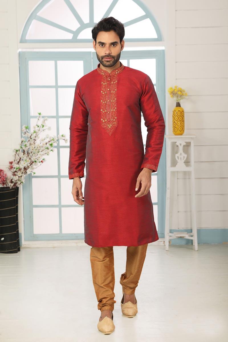 Maroon Color Art Silk Fabric Sangeet Wear Stylish Kurta Pyjama For Men