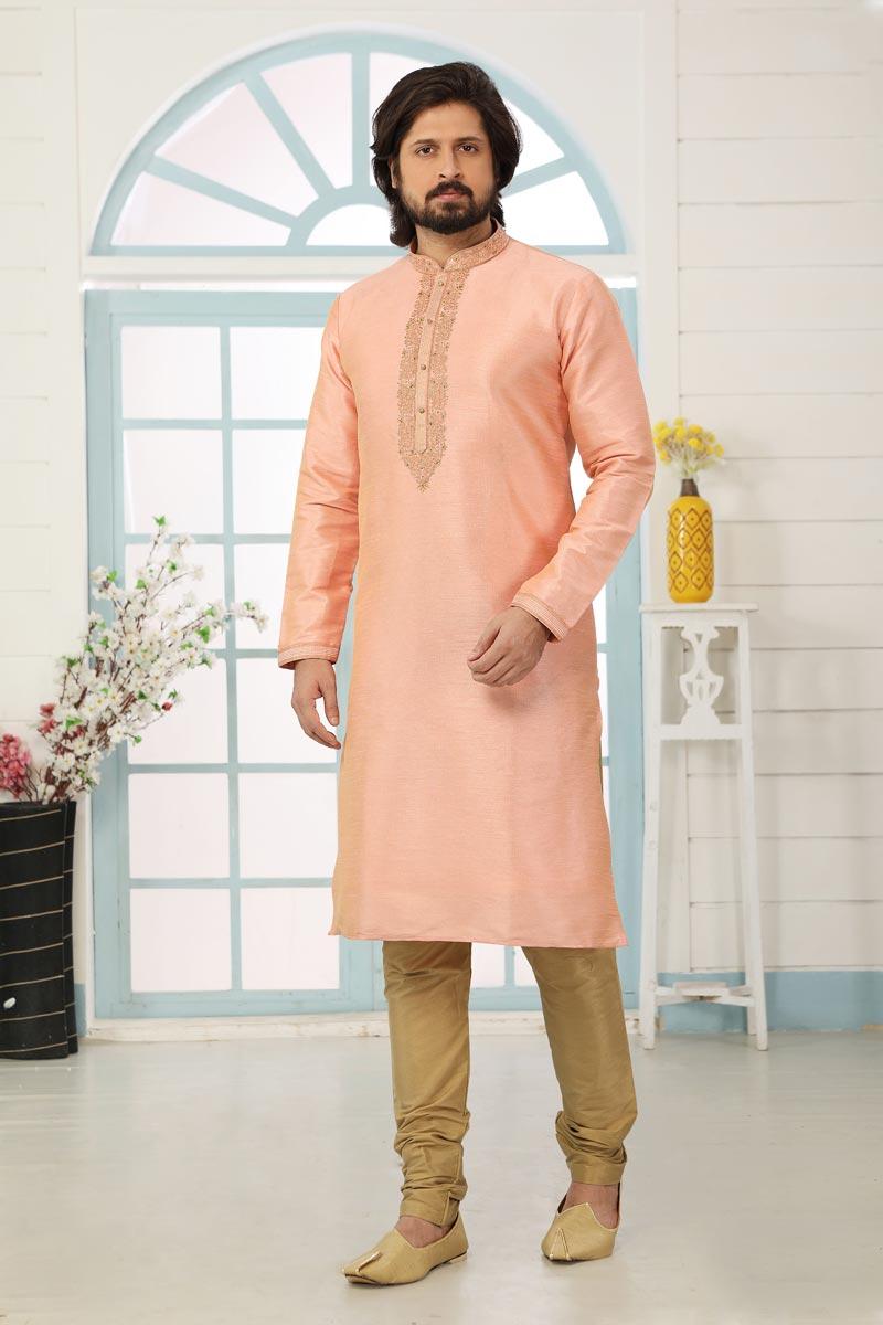 Peach Color Art Silk Fabric Function Wear Designer Kurta Pyjama For Men
