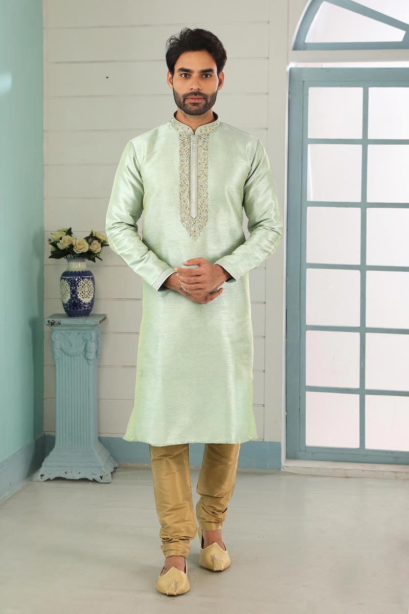 Sea Green Color Art Silk Fabric Function Wear Fancy Kurta Pyjama For Men