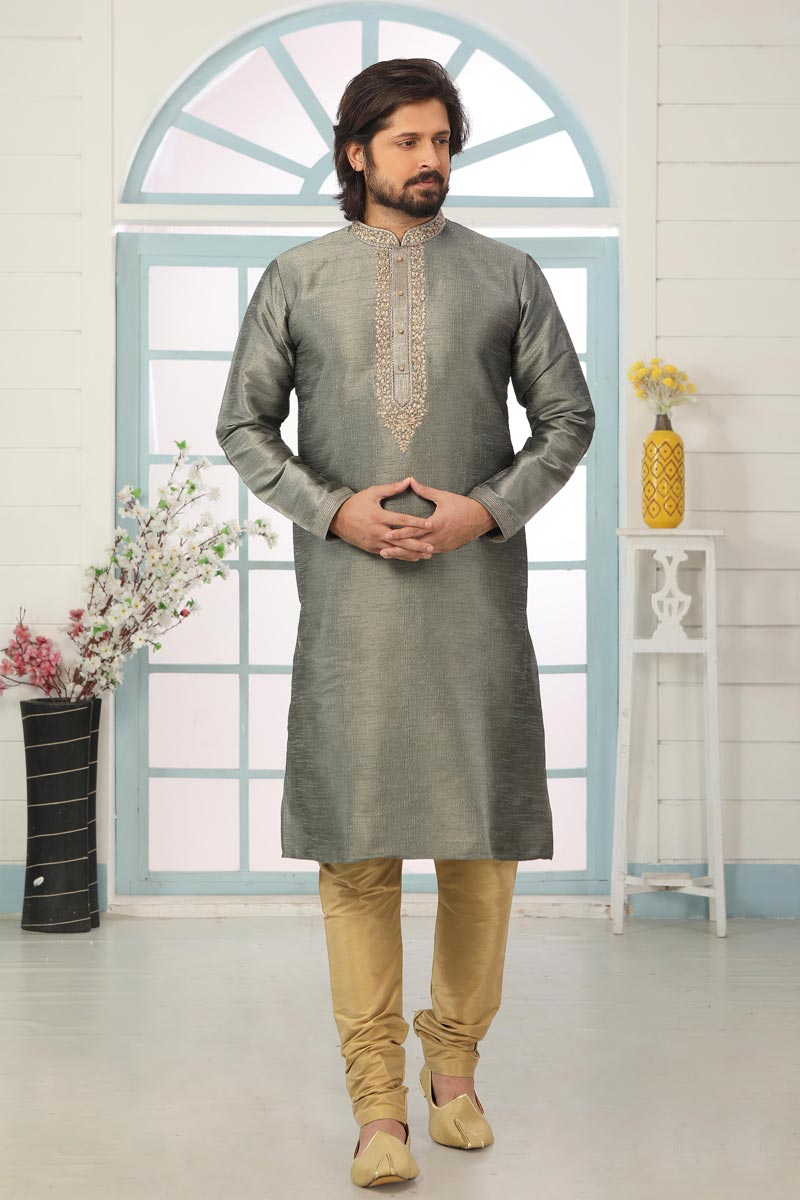Grey Color Art Silk Fabric Festive Wear Trendy Kurta Pyjama For Men