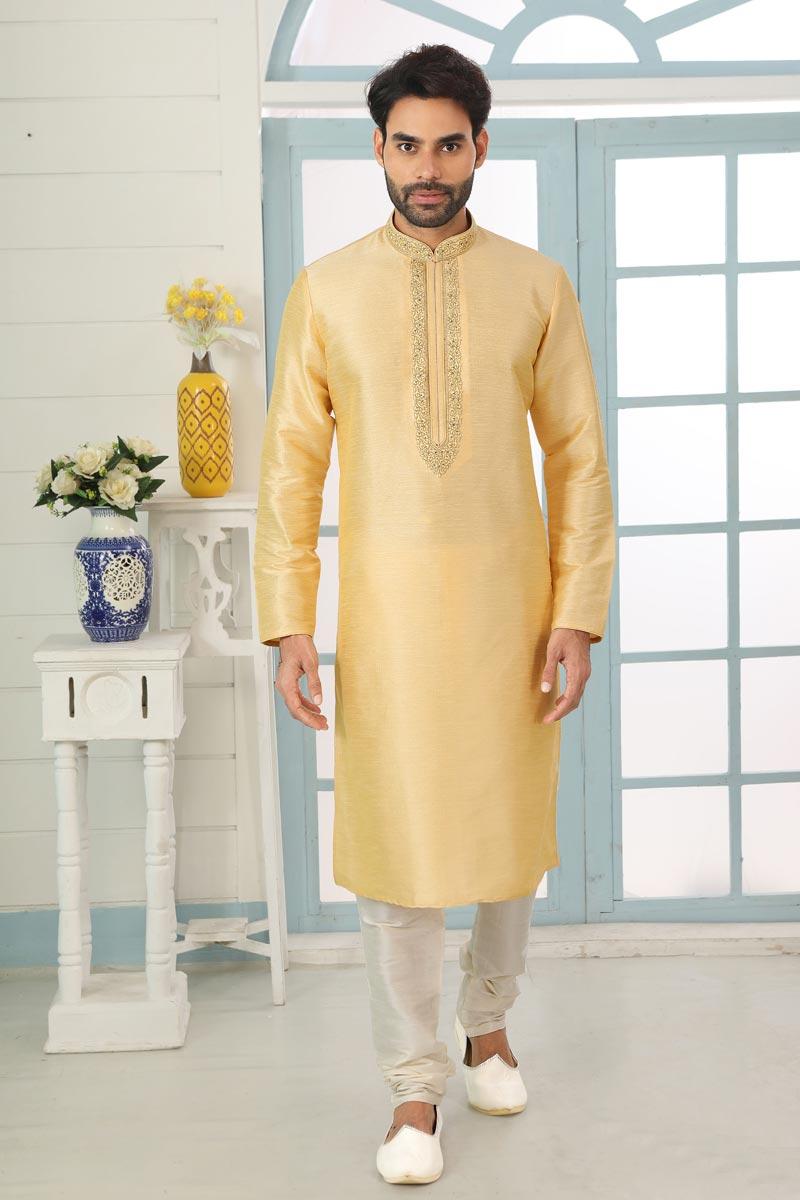 Beige Color Art Silk Fabric Sangeet Wear Stylish Kurta Pyjama For Men
