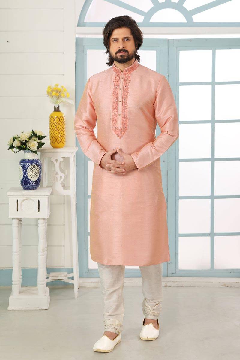 Pink Color Art Silk Fabric Function Wear Designer Kurta Pyjama For Men
