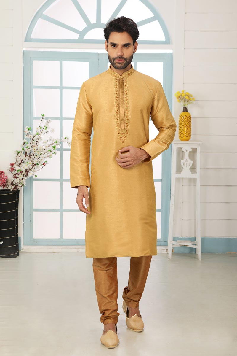 Golden Color Art Silk Fabric Function Wear Fancy Kurta Pyjama For Men