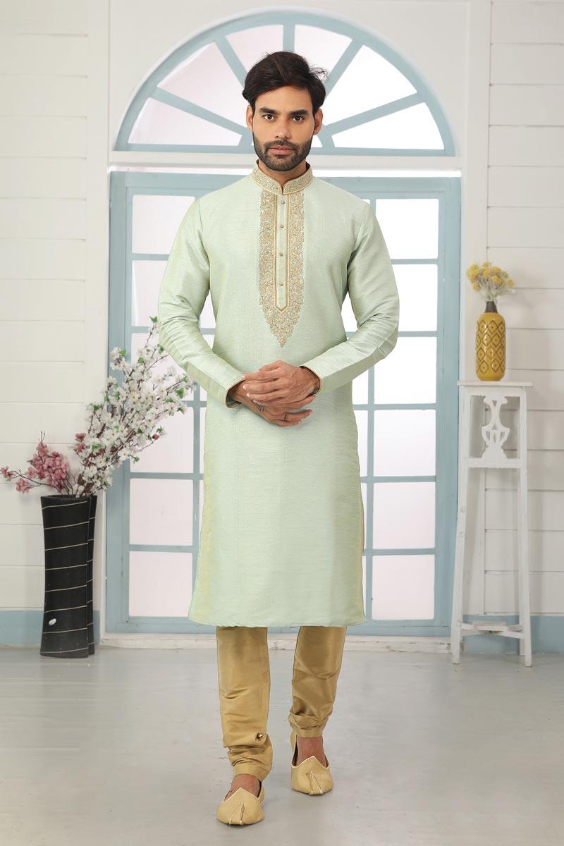 Sea Green Color Art Silk Fabric Festive Wear Trendy Kurta Pyjama For Men