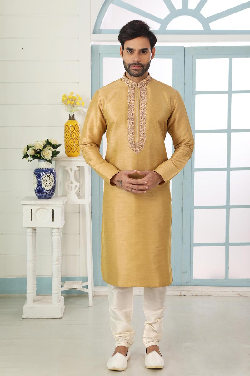 Golden Color Art Silk Fabric Sangeet Wear Stylish Kurta Pyjama For Men