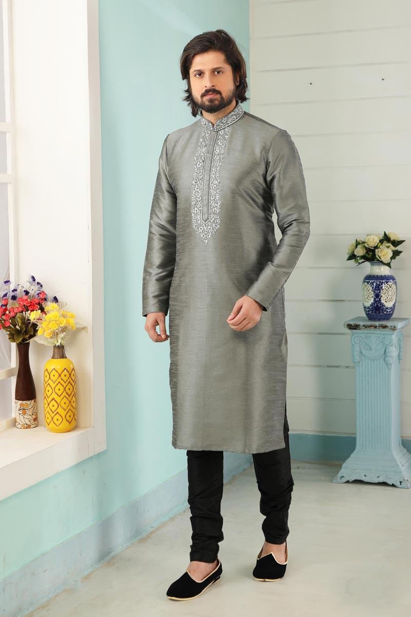 Grey Color Art Silk Fabric Function Wear Designer Kurta Pyjama For Men