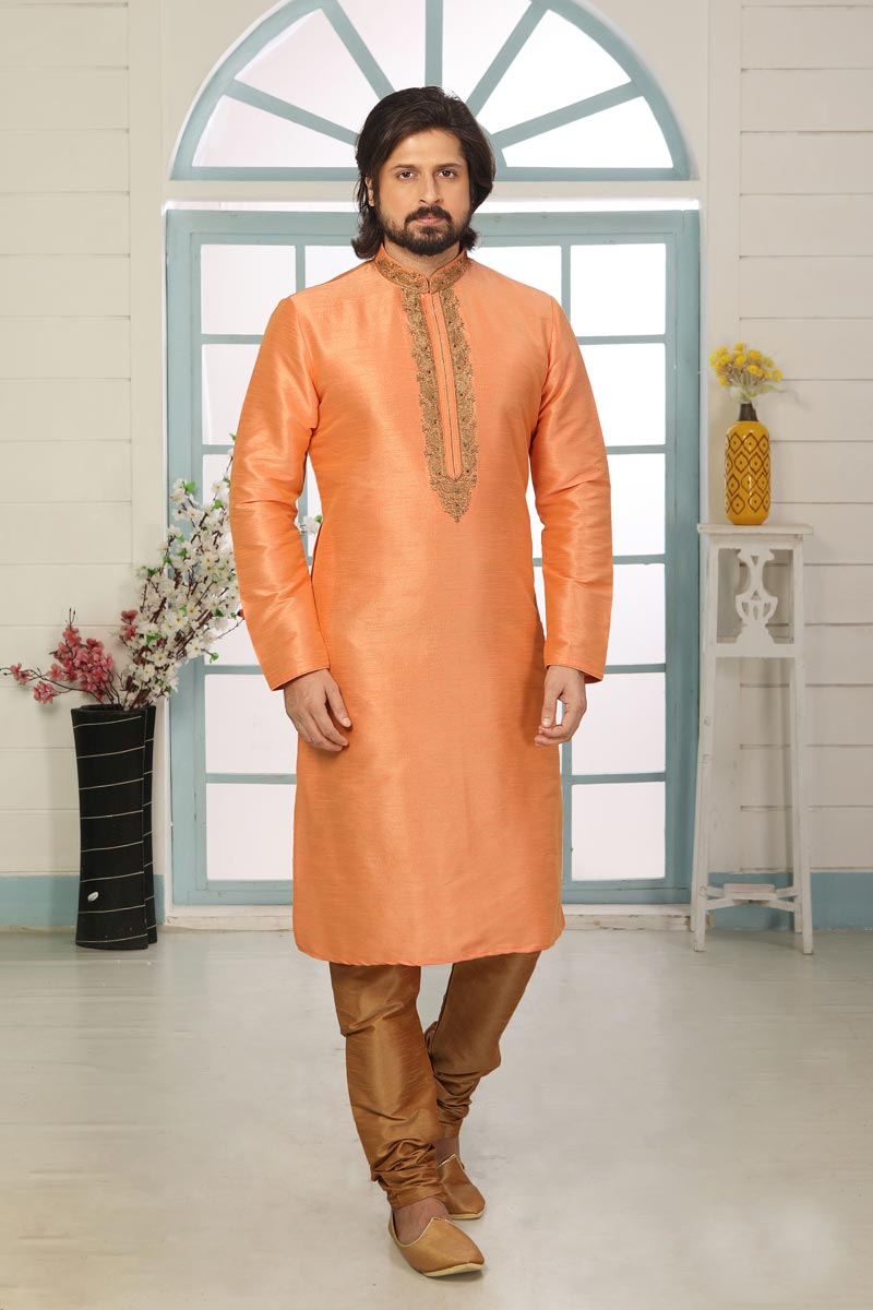 Peach Color Art Silk Fabric Function Wear Fancy Kurta Pyjama For Men