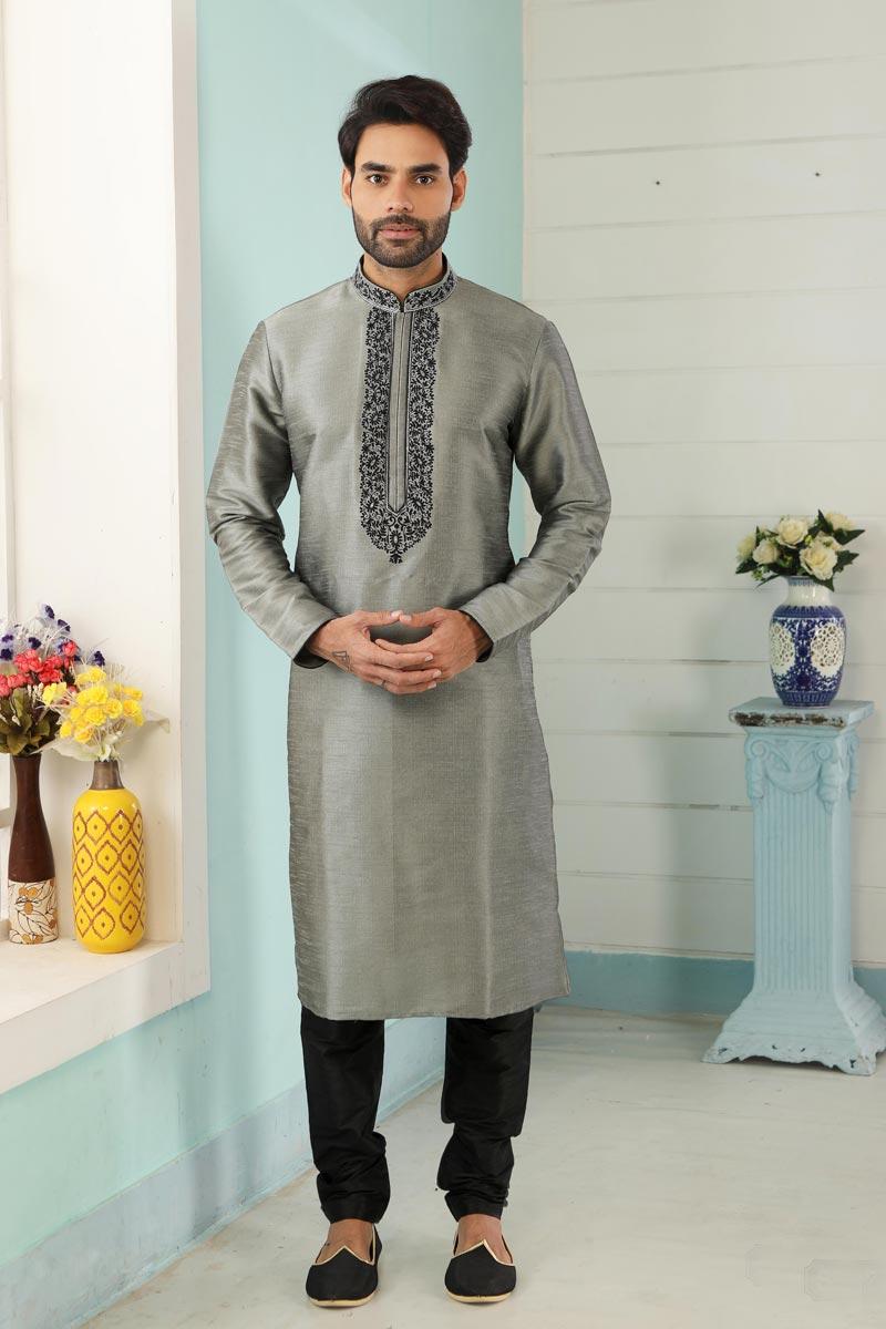 Grey Art Silk Fabric Festive Wear Trendy Kurta Pyjama For Men