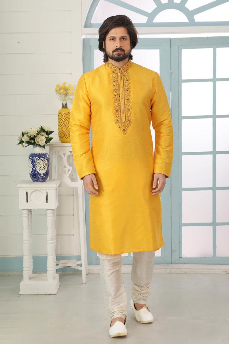 Yellow Color Art Silk Fabric Sangeet Wear Stylish Kurta Pyjama For Men