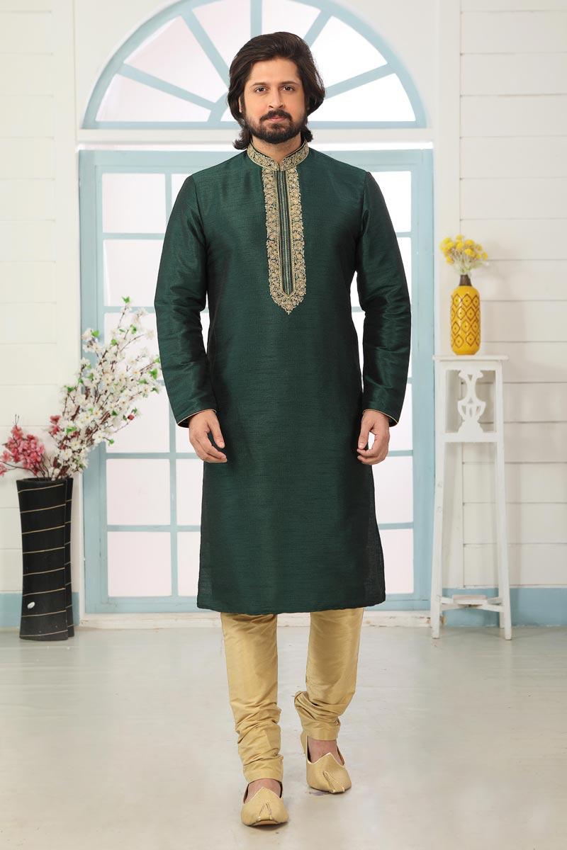 Dark Green Color Art Silk Fabric Function Wear Fancy Kurta Pyjama For Men