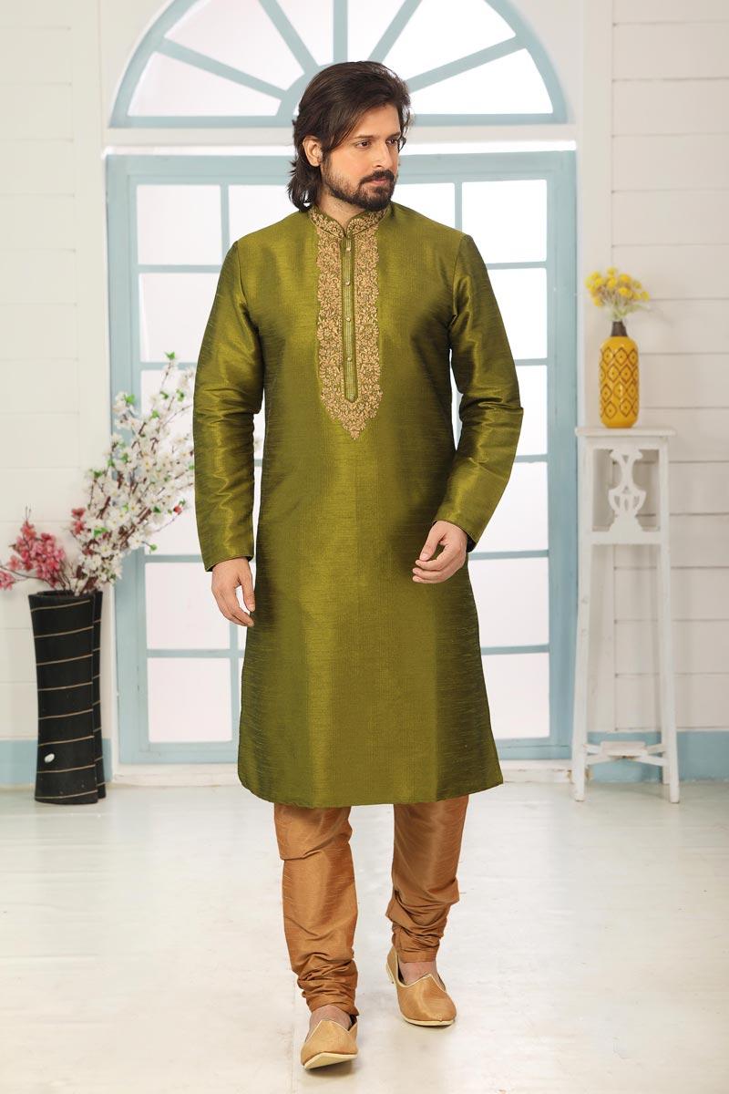 Mehendi Green Color Art Silk Fabric Festive Wear Trendy Kurta Pyjama For Men