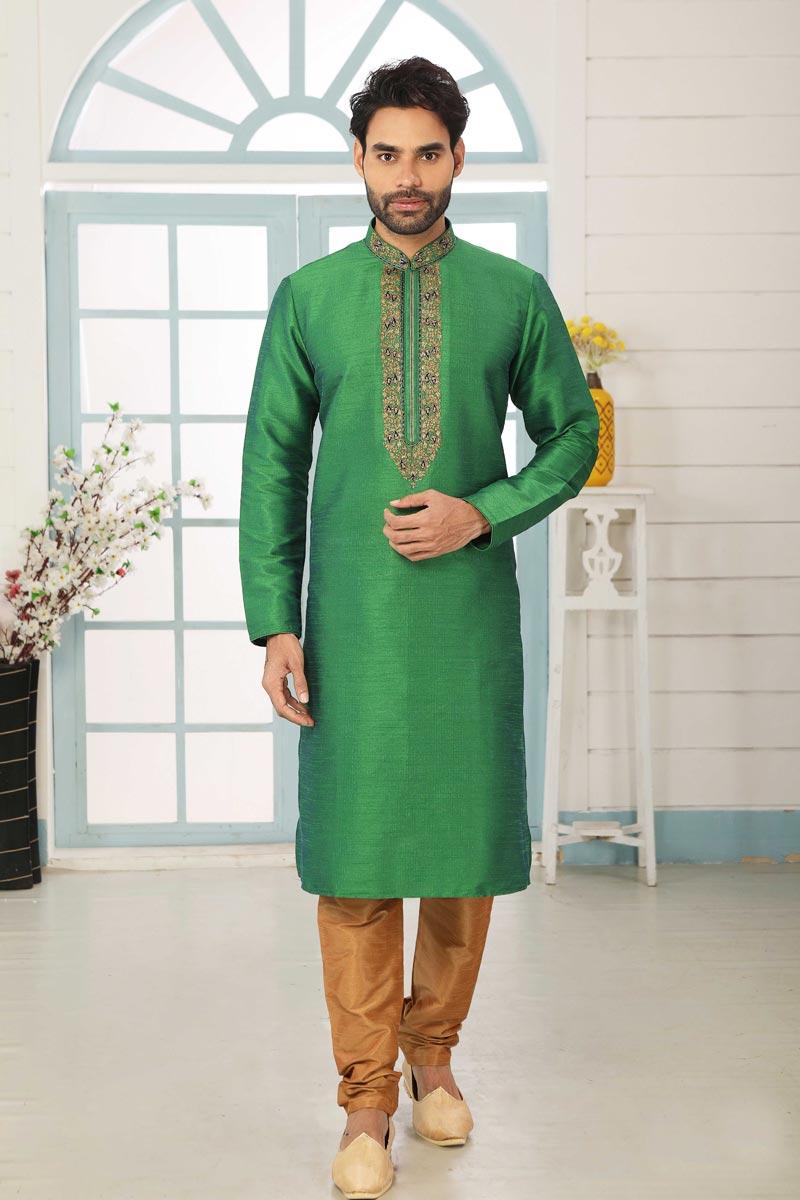 Green Color Art Silk Fabric Sangeet Wear Stylish Kurta Pyjama For Men