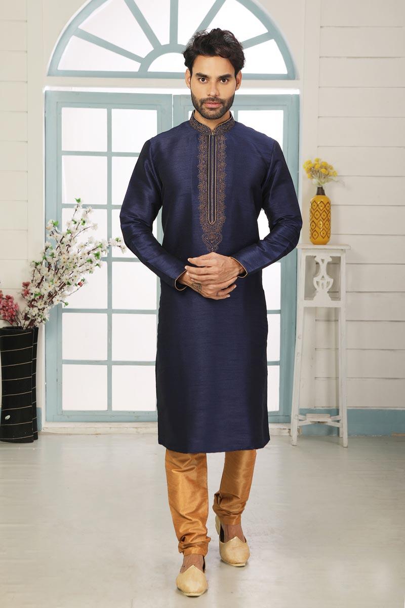 Navy Blue Color Art Silk Function Wear Designer Kurta Pyjama For Men