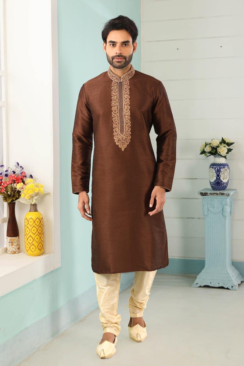 Brown Color Art Silk Fabric Function Wear Fancy Kurta Pyjama For Men