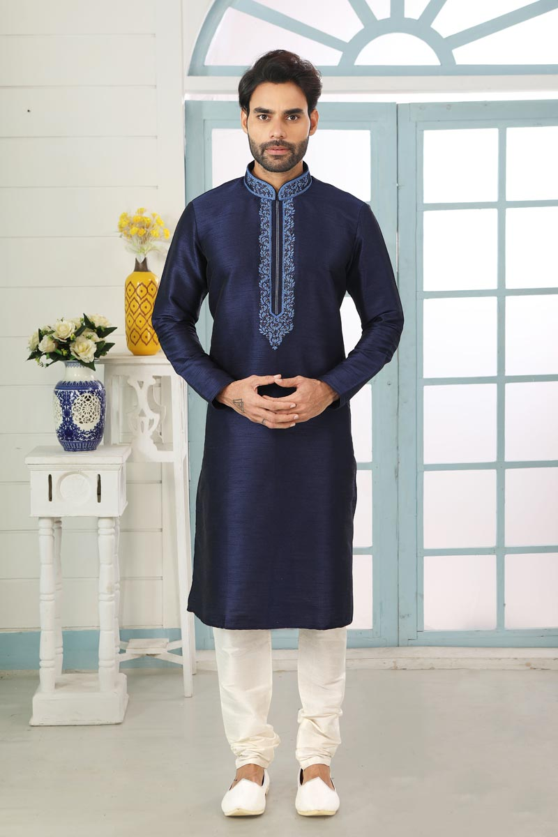 Navy Blue Color Art Silk Fabric Festive Wear Trendy Kurta Pyjama For Men