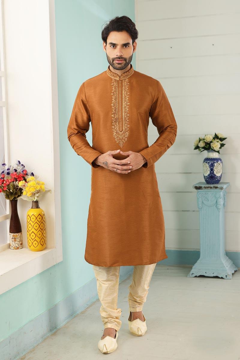 Rust Color Art Silk Fabric Sangeet Wear Stylish Kurta Pyjama For Men