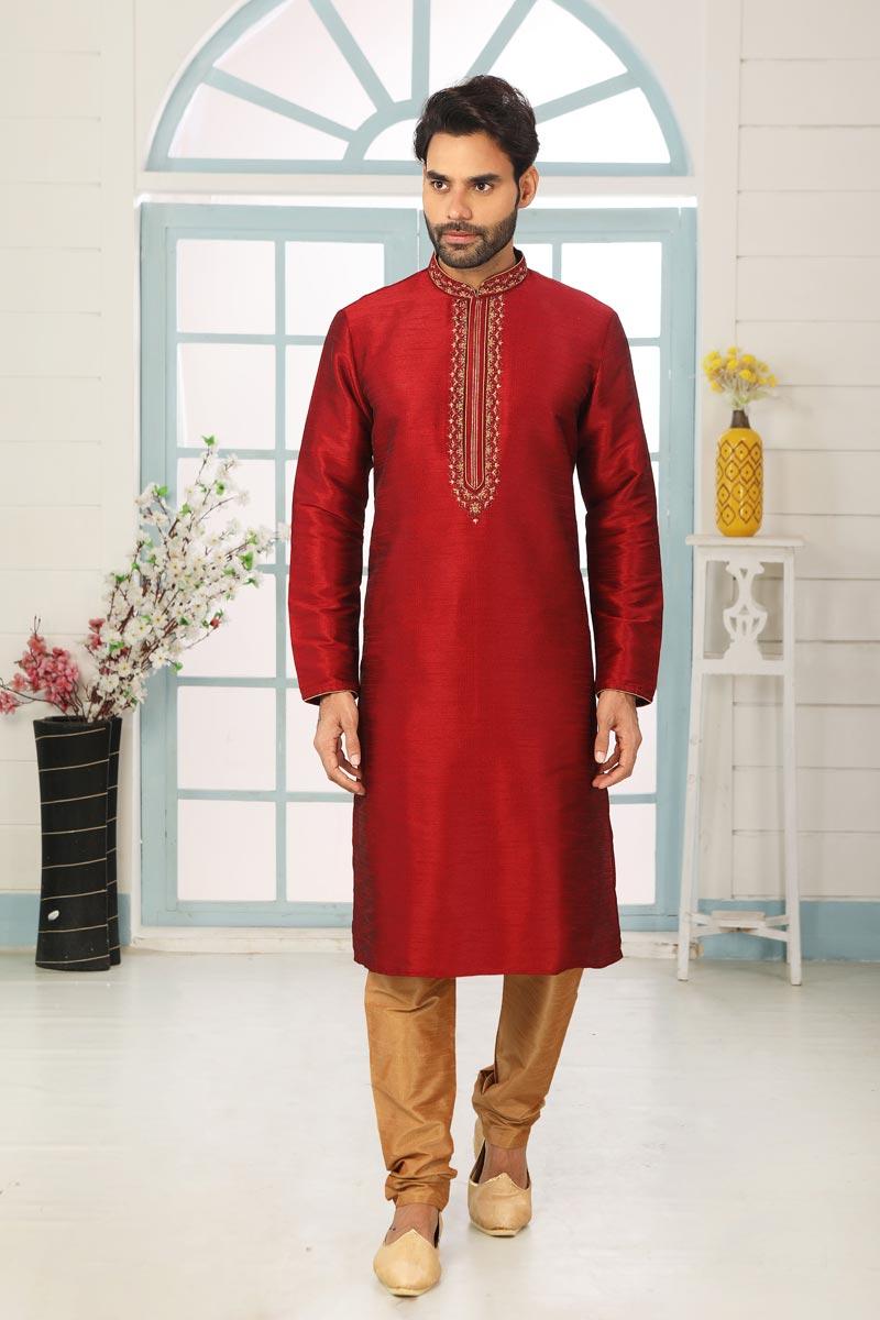 Maroon Color Art Silk Fabric Function Wear Designer Kurta Pyjama For Men