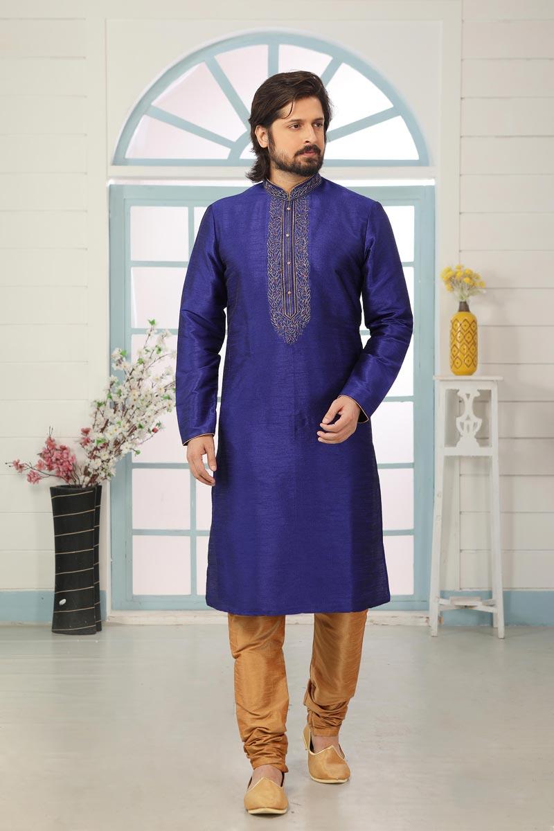 Blue Color Art Silk Fabric Function Wear Fancy Kurta Pyjama For Men