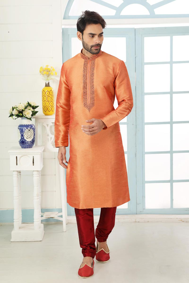 Peach Color Art Silk Fabric Festive Wear Trendy Kurta Pyjama For Men