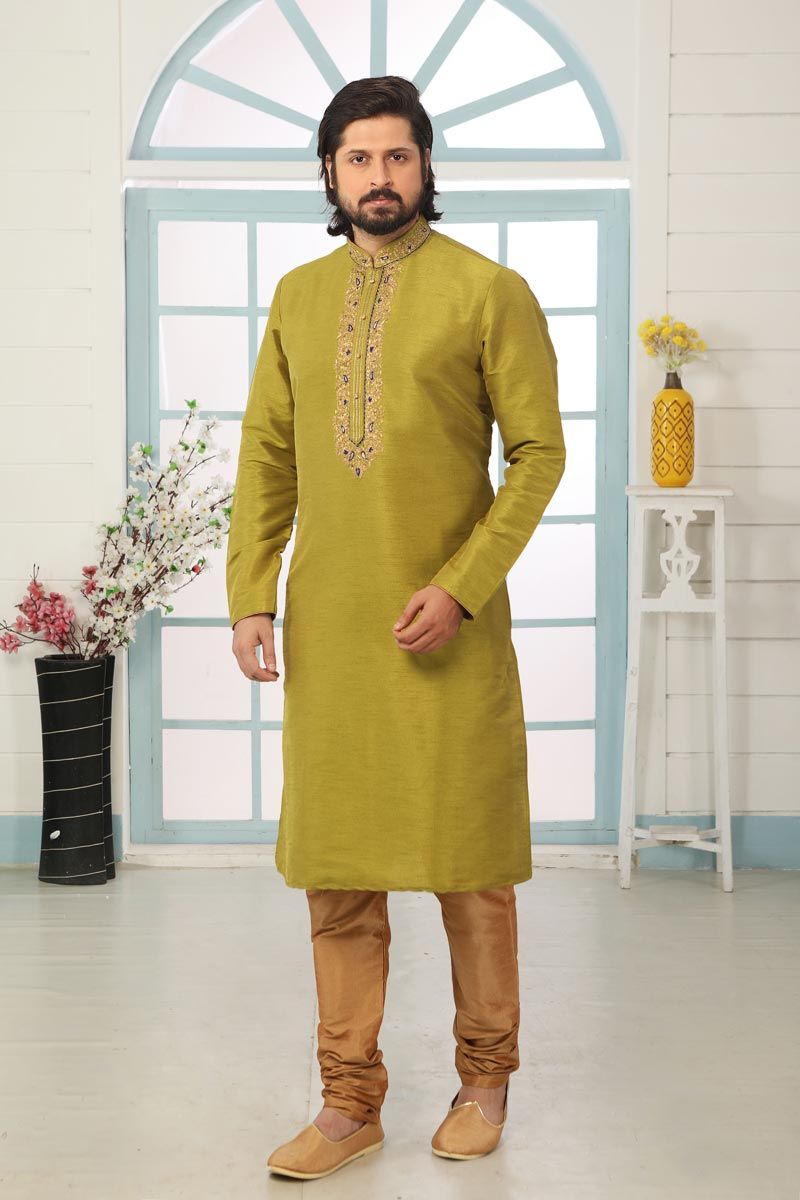 Mehendi Green Color Art Silk Fabric Sangeet Wear Stylish Kurta Pyjama For Men