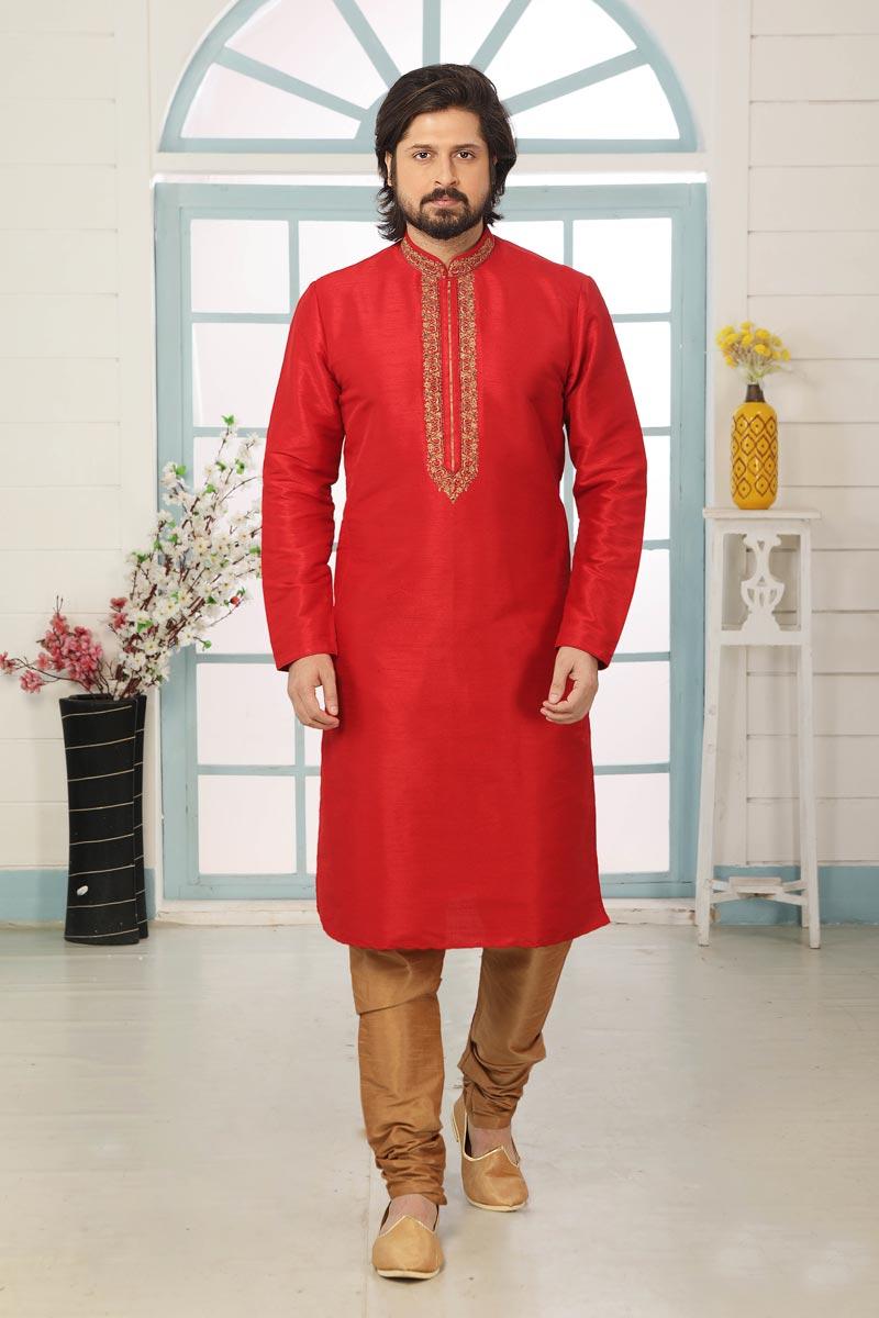Red Color Art Silk Fabric Function Wear Designer Kurta Pyjama For Men