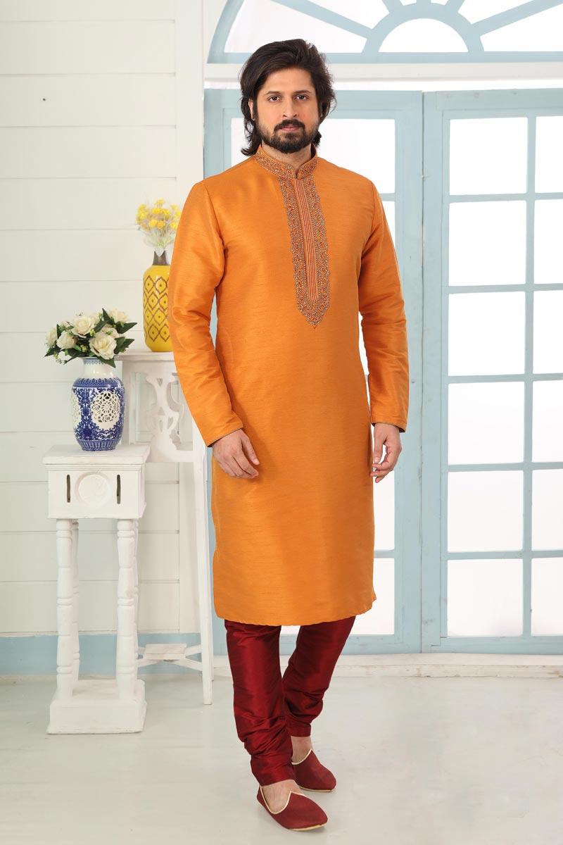 Orange Color Art Silk Fabric Function Wear Fancy Kurta Pyjama For Men