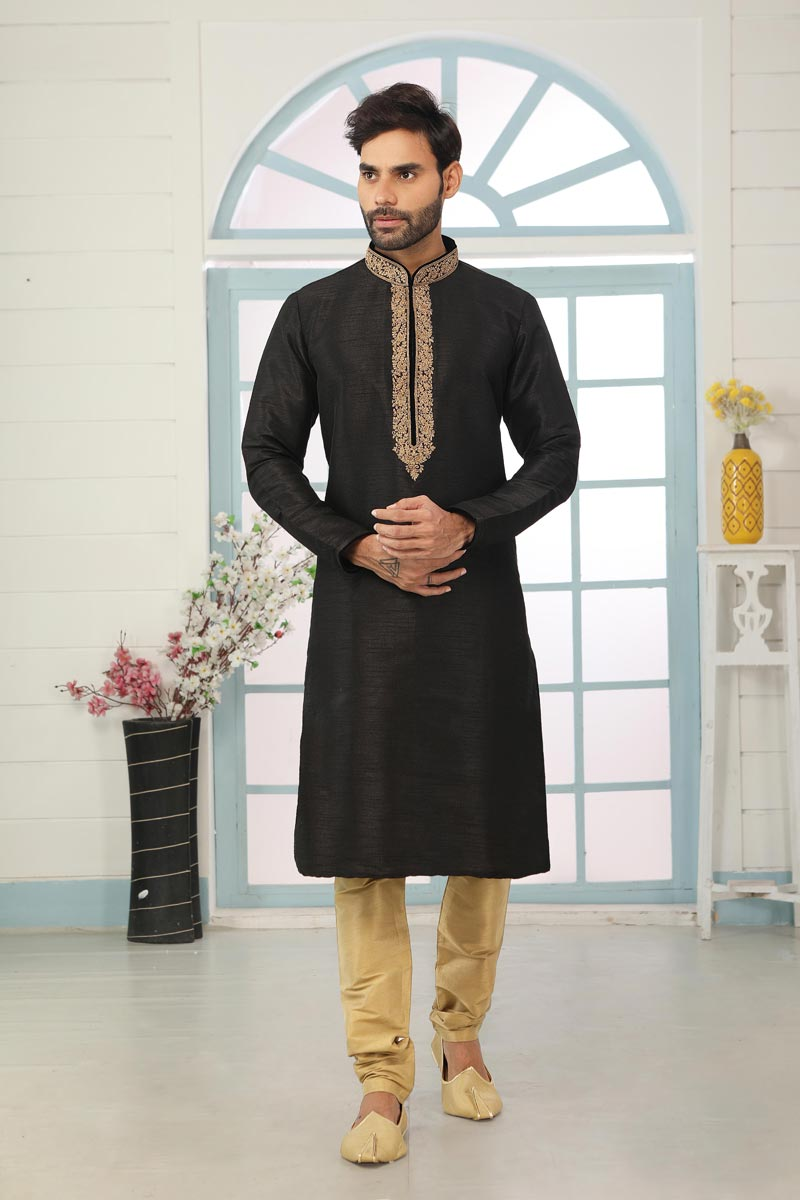 Black Color Art Silk Fabric Festive Wear Trendy Kurta Pyjama For Men