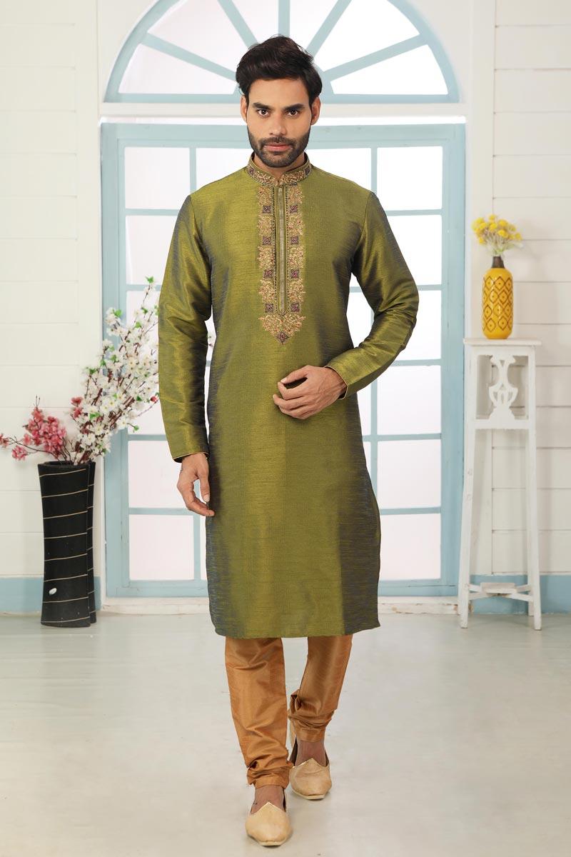 Mehendi Green Color Art Silk Fabric Stylish Kurta Pyjama For Men