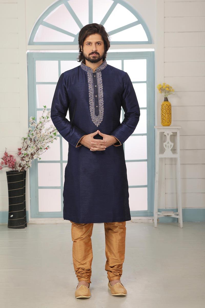 Navy Blue Color Art Silk Fabric Function Wear Kurta Pyjama For Men