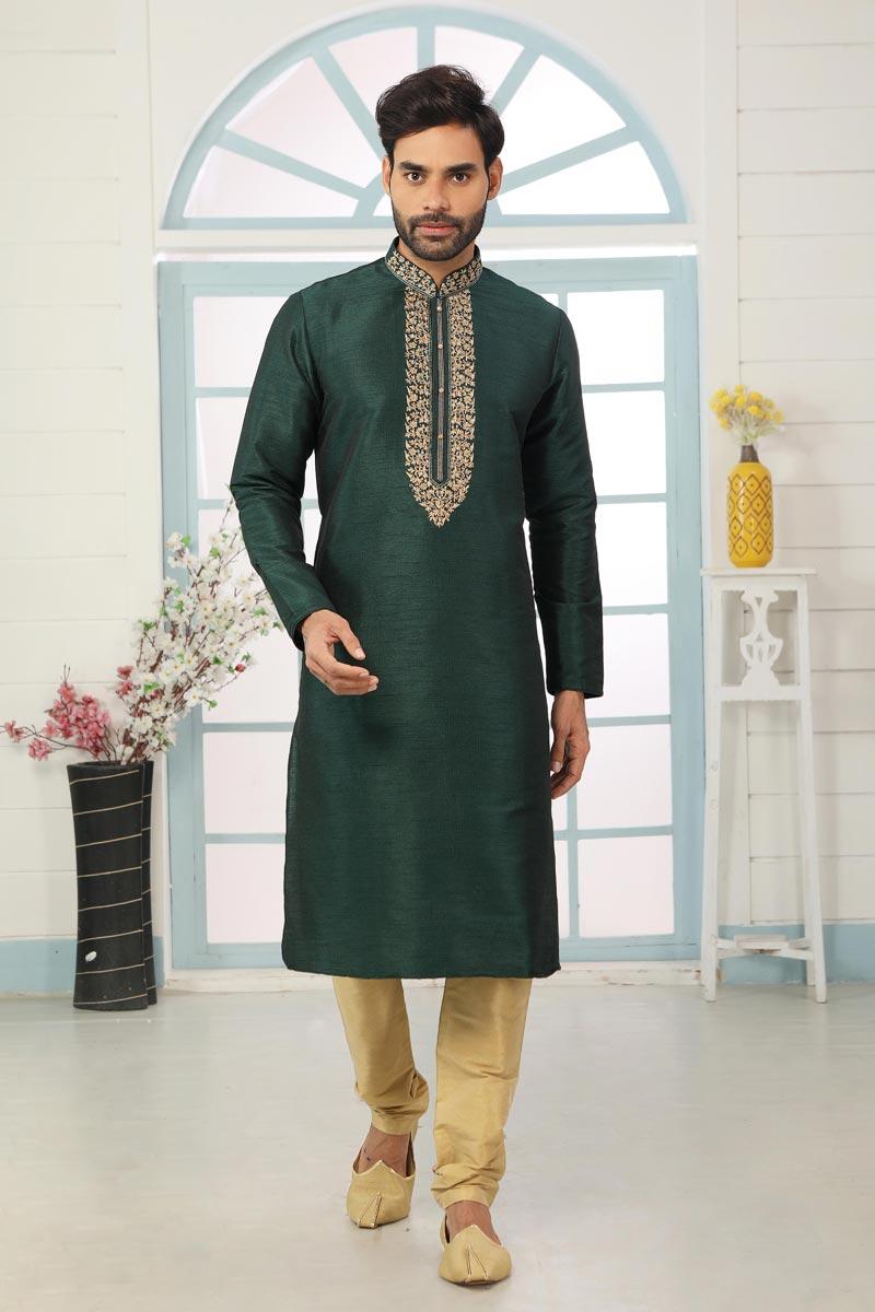Art Silk Fabric Festive Wear Trendy Kurta Pyjama For Men