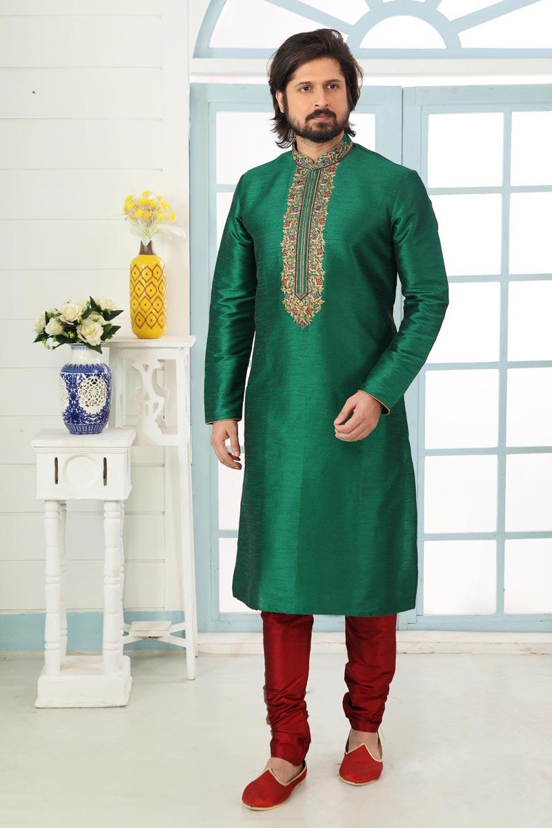 Green Color Sangeet Wear Stylish Kurta Pyjama For Men