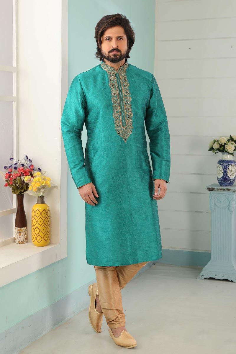 Cyan Color Art Silk Fabric Function Wear Designer Kurta Pyjama For Men