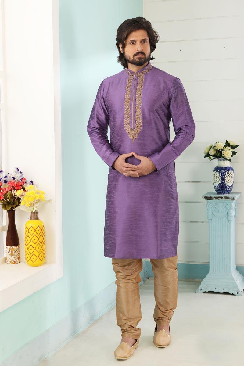 Lavender Color Art Silk Fabric Function Wear Fancy Kurta Pyjama For Men