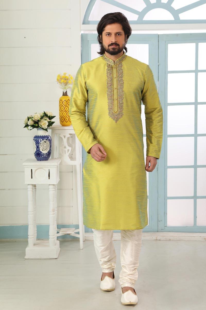 Green Color Art Silk Fabric Festive Wear Trendy Kurta Pyjama For Men