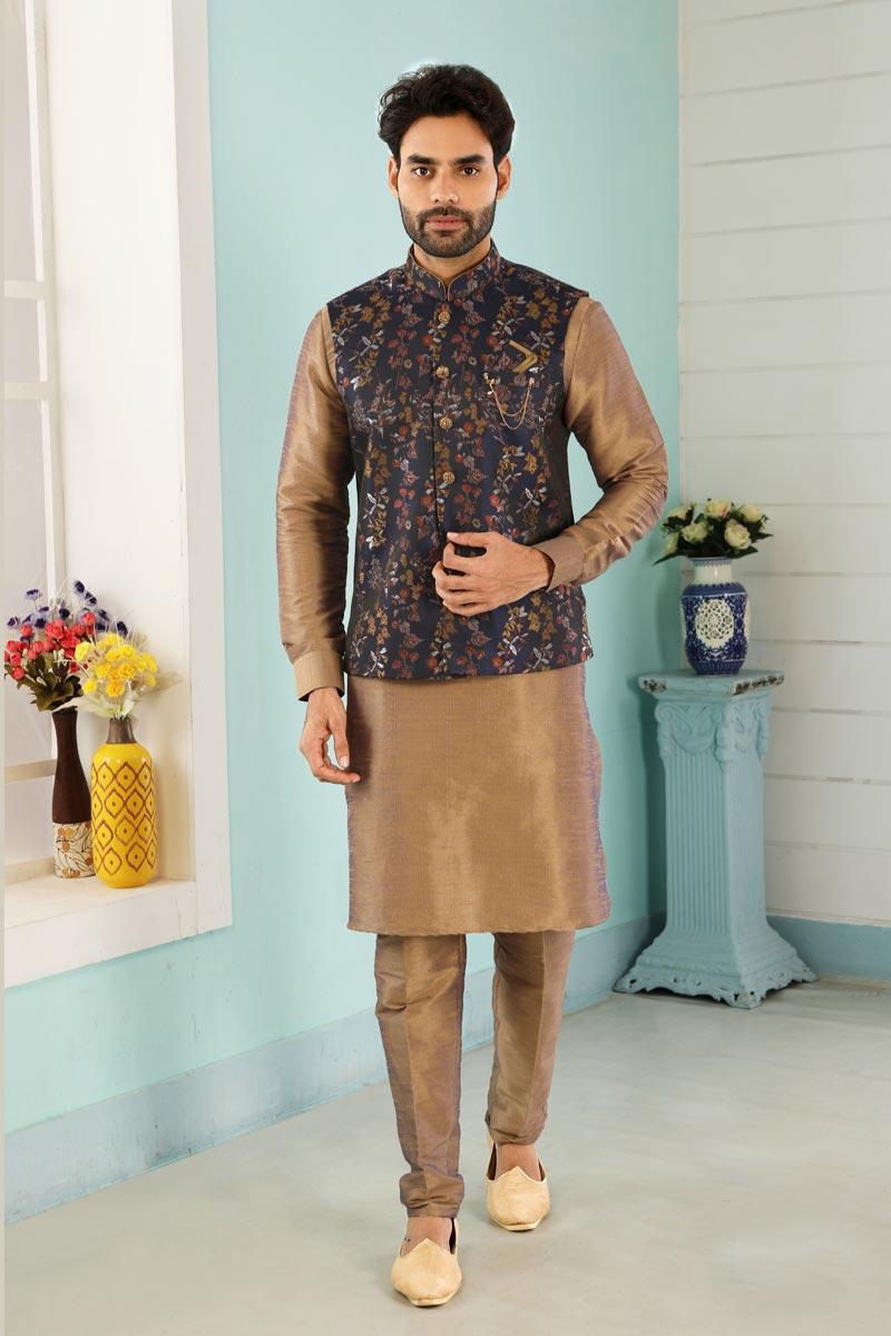 Chikoo Color Art Silk Fabric Function Wear Fancy Kurta Pyjama For Men