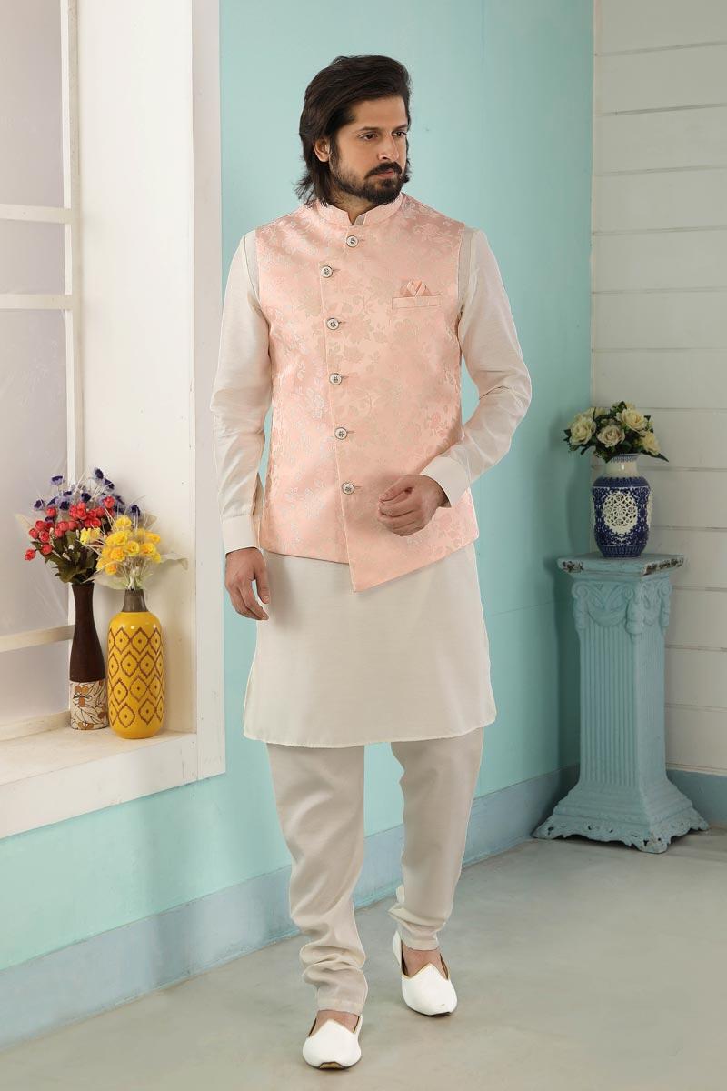 Off White Color Sangeet Wear Stylish Kurta Pyjama For Men