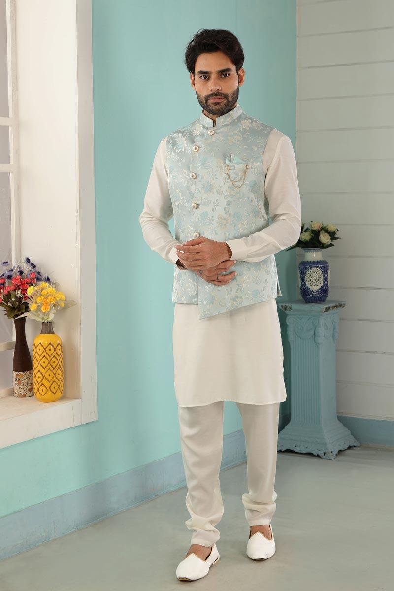 Off White Color Art Silk Fabric Designer Kurta Pyjama For Men